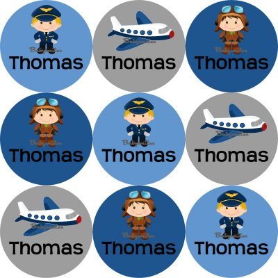 Airplane Pilot Round Name Label Stickers