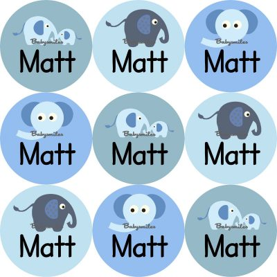 Baby Blue Elephant Round Name Label Stickers