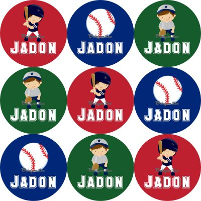 Baseball Round Name Label Stickers