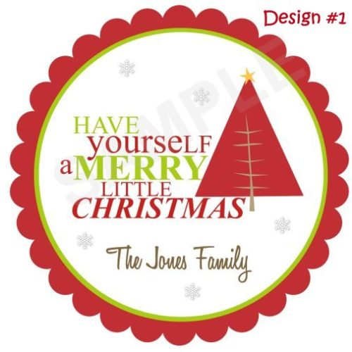 Merry Christmas Tree Personalized Stickers