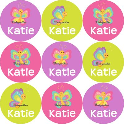 Beautiful Butterfly Round Name Label Stickers