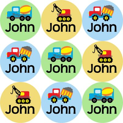 Construction Trucks Round Name Label Stickers