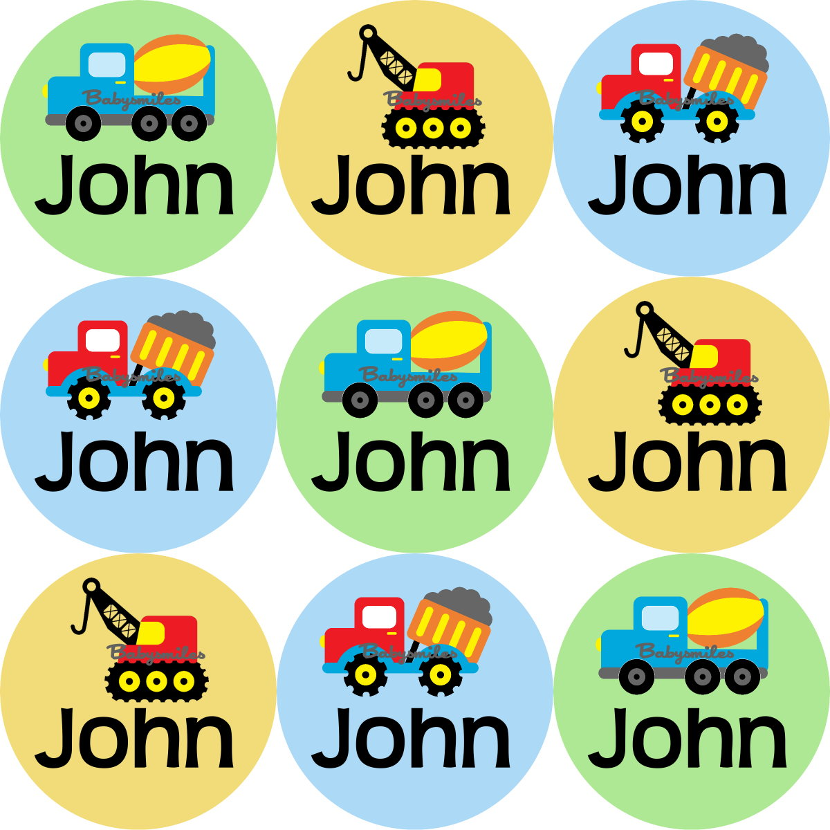 construction trucks round personalized name labels baby smiles
