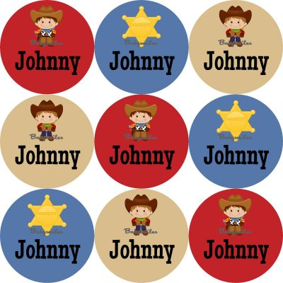 Cool Cowboys Round Name Label Stickers