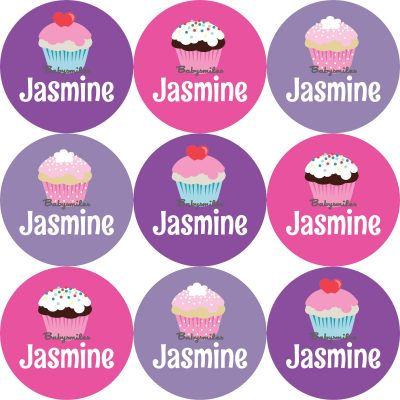 Sweet Cupcakes Round Name Label Stickers