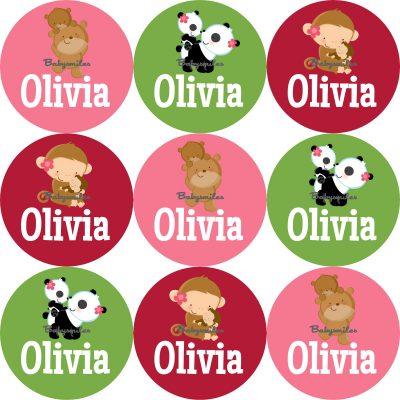 Cutie Animals Round Name Label Stickers