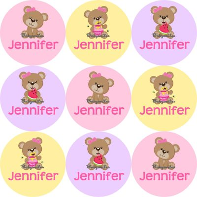 Cutie Bear Round Name Label Stickers