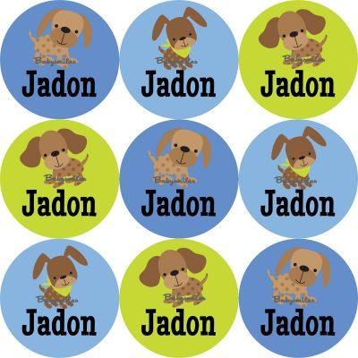 Cutie Dog Boy Round Name Label Stickers