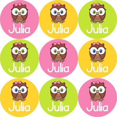 Cutie Owl Round Name Label Stickers