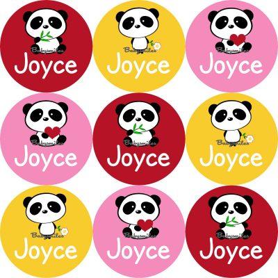 Cutie Panda Round Name Label Stickers