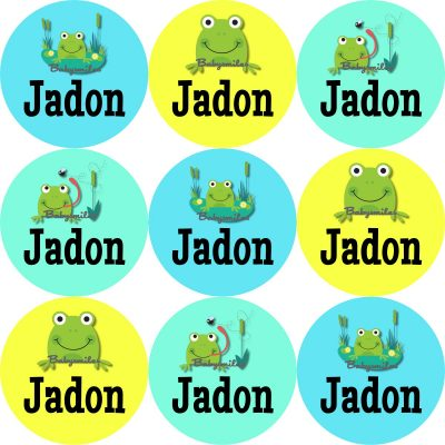 Cute Lil Frog Round Name Label Stickers