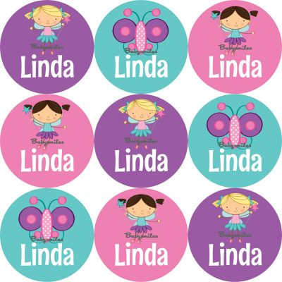 Magical Fairies Round Name Label Stickers