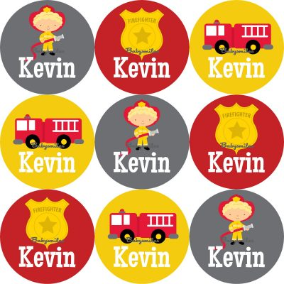 Firefighter Hero Round Name Label Stickers