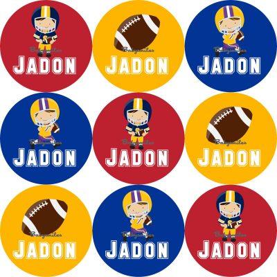 Football Allstars Round Name Label Stickers
