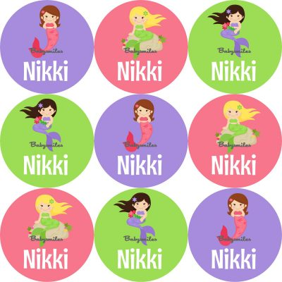 Mystical Mermaid Round Name Label Stickers
