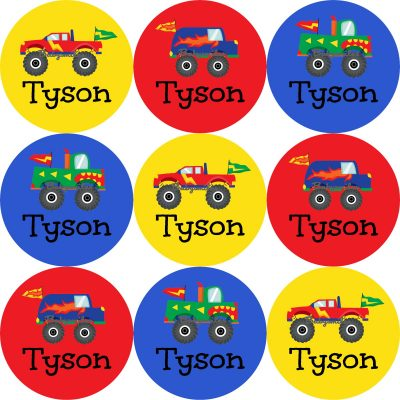 Monster Truck Round Name Label Stickers
