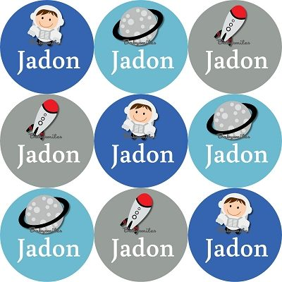 Out of this World Round Name Label Stickers