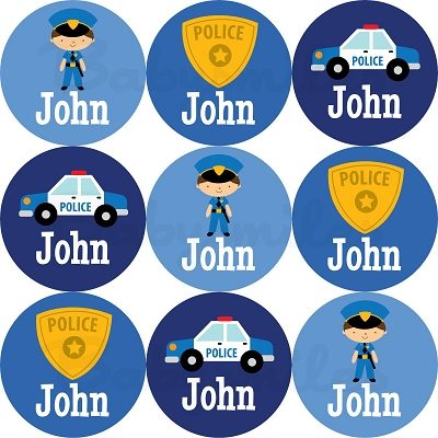Police Heroes Round Name Label Stickers