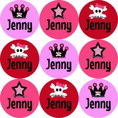 Punk Princess Round Name Label Stickers