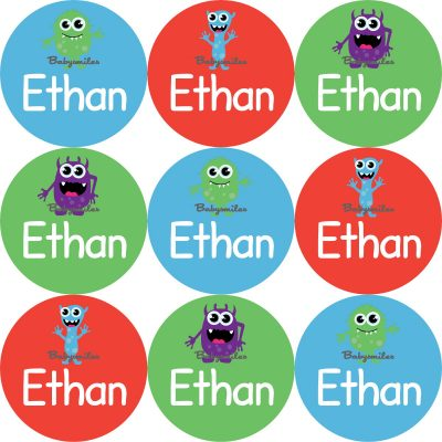 Scary Monster Round Name Label Stickers