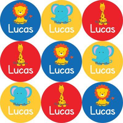 Safari Round Name Label Stickers