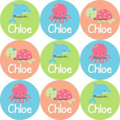 Seaworld Animal Girl Round Name Label Stickers
