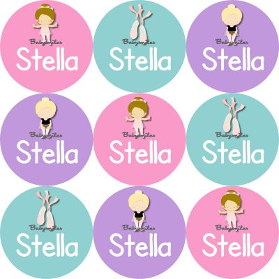 Sweet Ballet Girl Round Name Label Stickers