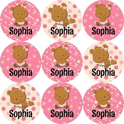 Teddy Bear Girl Round Name Label Stickers
