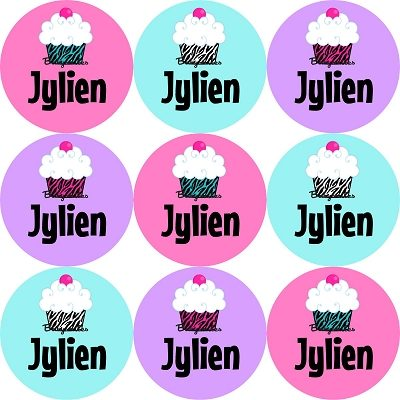 Zebra Print Cupcakes Round Name Label Stickers