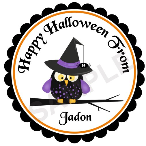 Halloween Owl Personalized Stickers