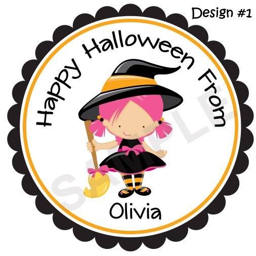 Little Cute Witch Personalized Stickers