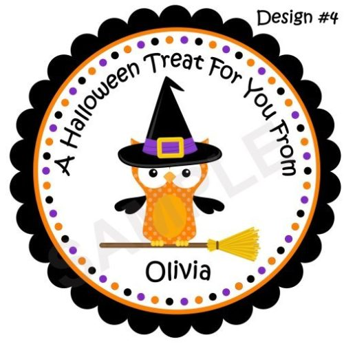 Halloween Owl 2 Personalized Stickers