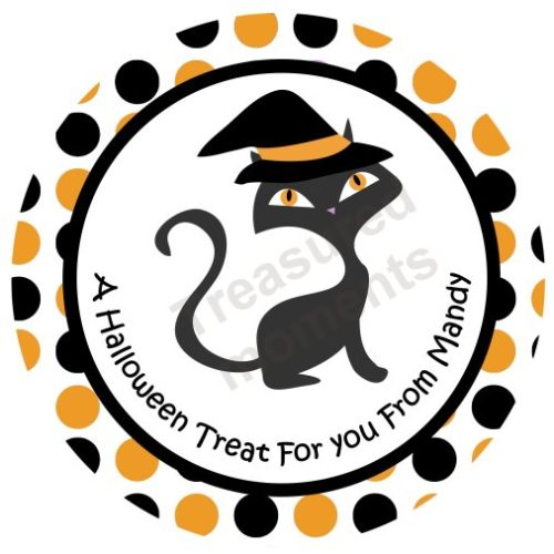 Halloween Cat Personalized Stickers