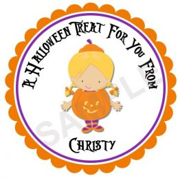 Little Pumpkin Girl Personalized Stickers