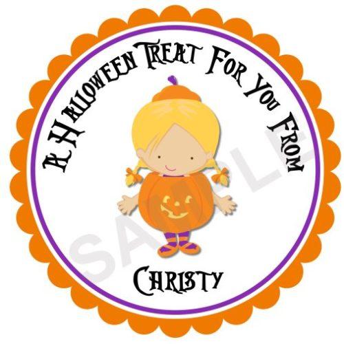 Little Pumpkin Girl Personalized Stickers