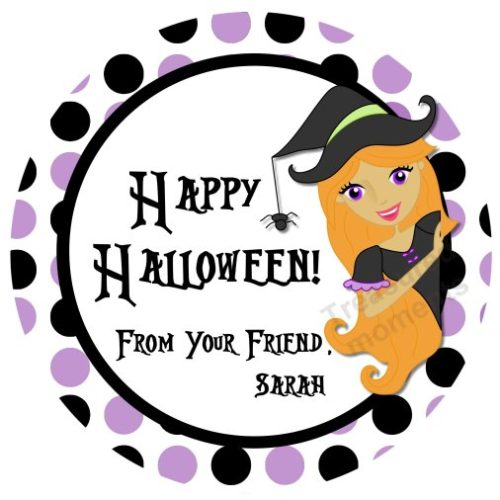 Happy Halloween Witch Personalized Stickers