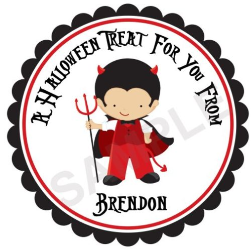 Little Devil Boy Personalized Stickers