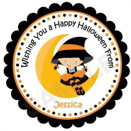 Halloween Witch Girl Personalized Stickers